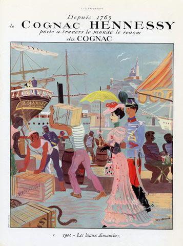 Hennessy (Cognac) 1937 Edy Legrand, Art Nouveau Style, Ship Boat Publicité ancienne Boissons illustrée par Edy Legrand | Hprints.com