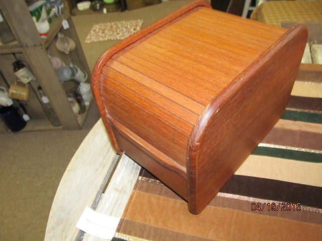 Vintage Kalmar Designs Teak Wood Recipe Box Roll Top Mid