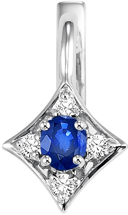 Diamond Jewellers :: Stylish gold sapphire and diamond pendant destined to become a treasured heirloom. This elegant pendant is a look any woman would love. Fashioned in sleek 14K white gold, this timeless design features a sapphire in a durable four-prong setting. A frame th