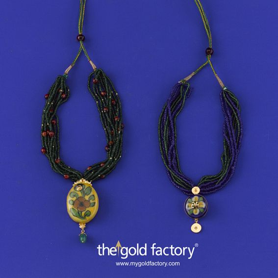Gold Factory Dhanteras Special Creative Jewellery Season's special Ceramic and Gold Collection. Very different, very stylish, very economical. The Gold Factory Dhanteras Dhakkadhakki is on ! Come and grab them !