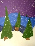 winter torn paper landscapes