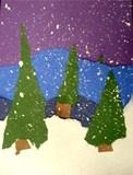 winter torn paper landscapes