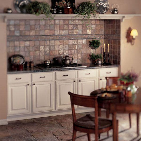 daltile kitchen featuring copper slate on floor copper tumbled slate on backsplash see more - Copper Kitchen Backsplash Ideas