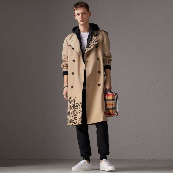 Burberry x Kris Wu Gabardine Trench Coat ($2,595) ❤ liked on Polyvore featuring men's fashion, men's clothing, men's outerwear, men's coats, mens fur collar coat, mens trench coat and burberry mens coat