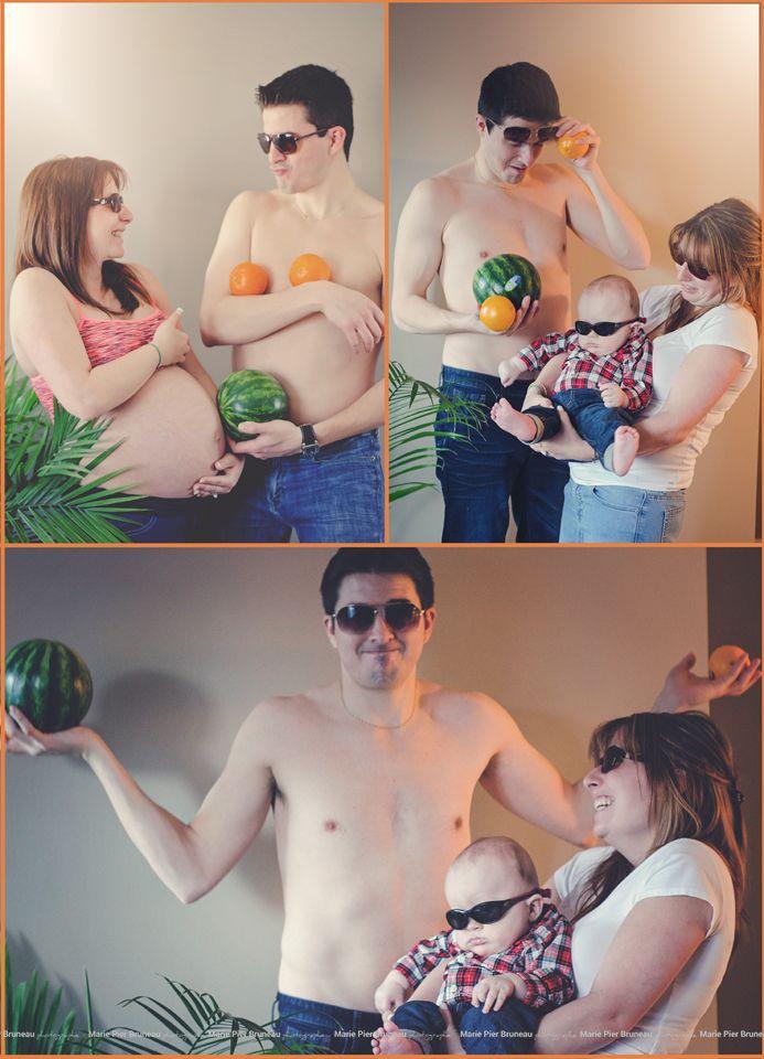 Before/after pregnancy baby photography. Funny. Oranges. ideas.Watermelon. Cool. Boy. Love. Photo avant/après grossesse bébé. idée. melon d'eau, graçon. amour. Drole.