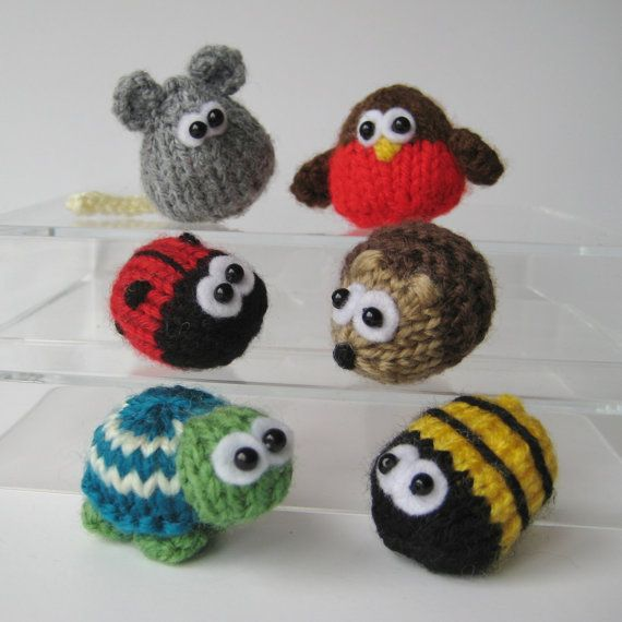 Teeny animal knitting patterns six quick to knit by fluffandfuzz