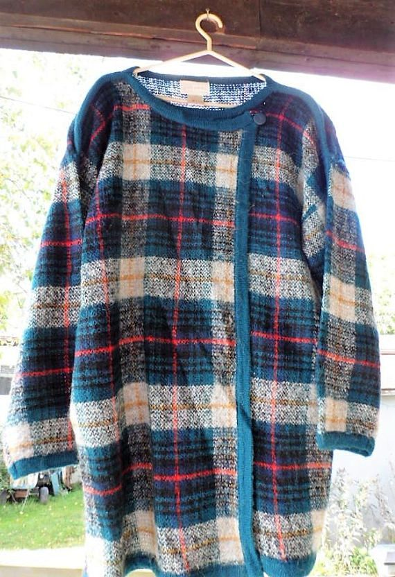 Vintage Plaid Mohair Look AcrylicWool and Nylon Blended Fiber