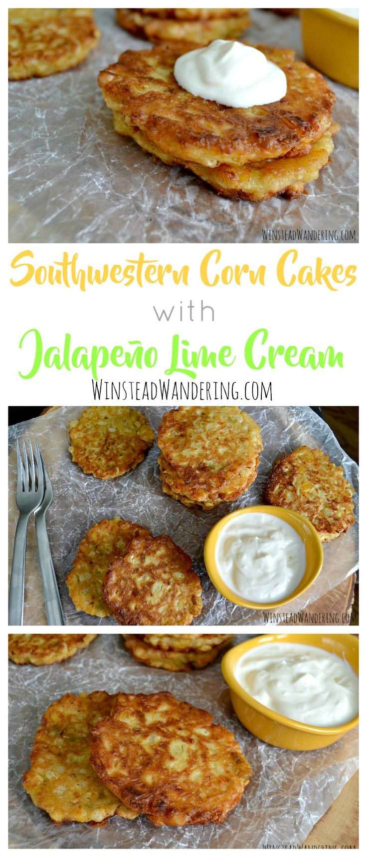 Southwestern Corn Cakes with Jalapeño Lime Cream offer perfect lightly-fried bites of sweet corn, cheese, and peppers with a slightly-spicy citrus cream.