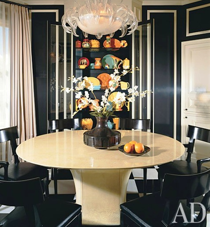 The Designer James Marzo Gave Breakfast Room A Dramatic Tuxedo Effect Painting Walls Black And Trim Cream