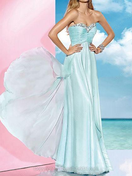 Empire Sweetheart Chiffon Floor-length Ruffles Prom Dresses -USD$179.46