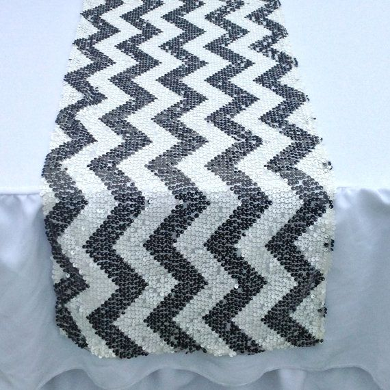 Chevron Sequin Table Runner  12x108  Black and by CreativePapier, $45.00