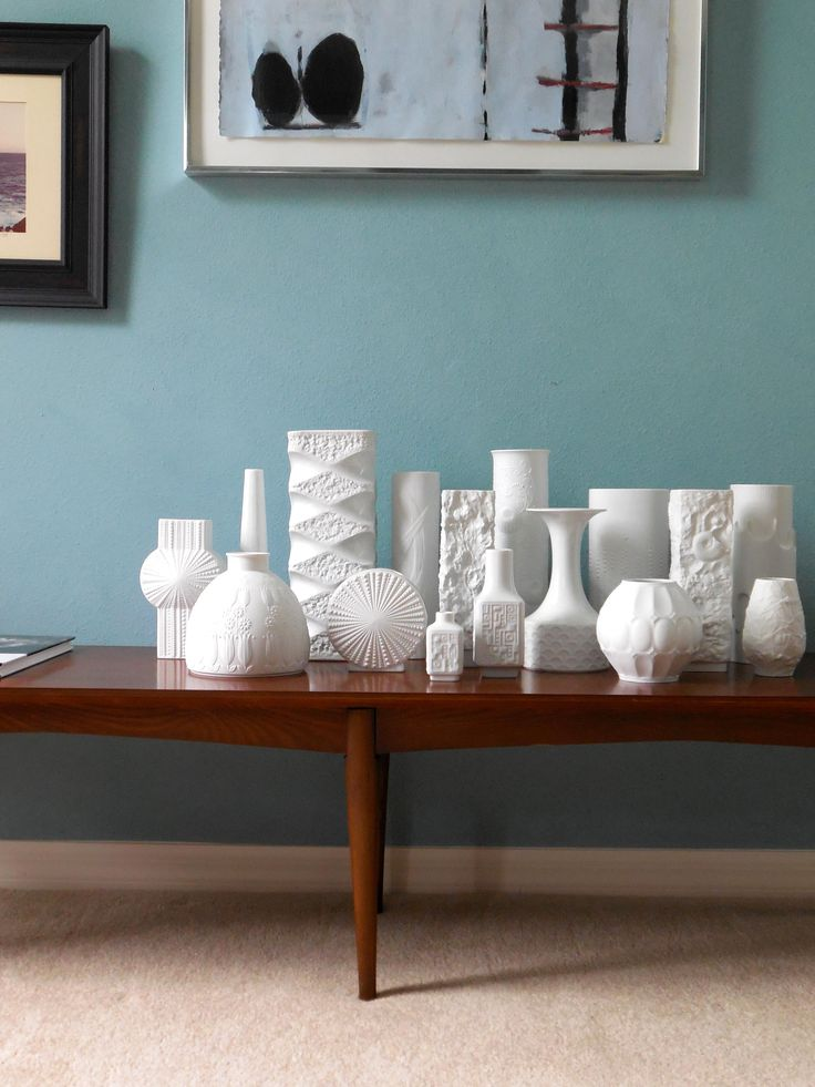 White vase collection c 1960s, MidCenturyFLA Interiors