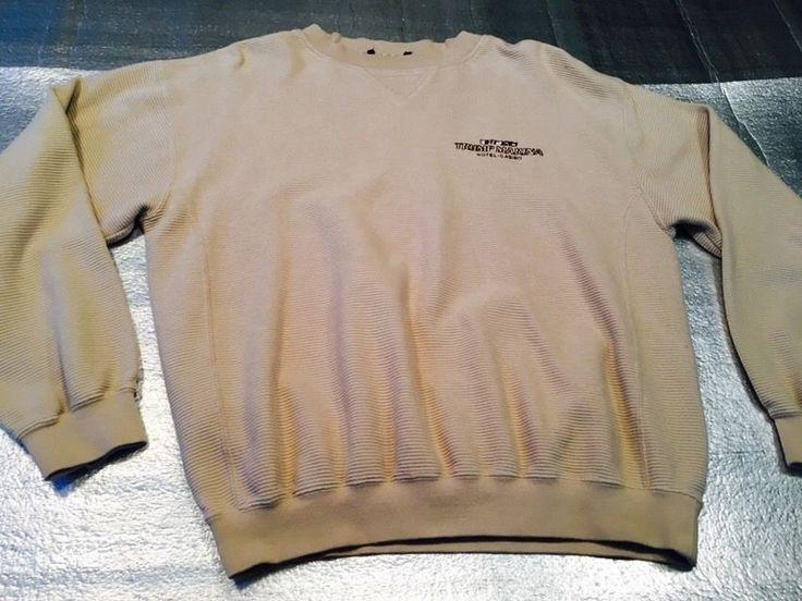 Men's GREG NORMAN / TRUMP MARINA Crew Neck Sweatshirt - Tan, Textured  - Size L #GregNorman #CrewNeckSweatshirt