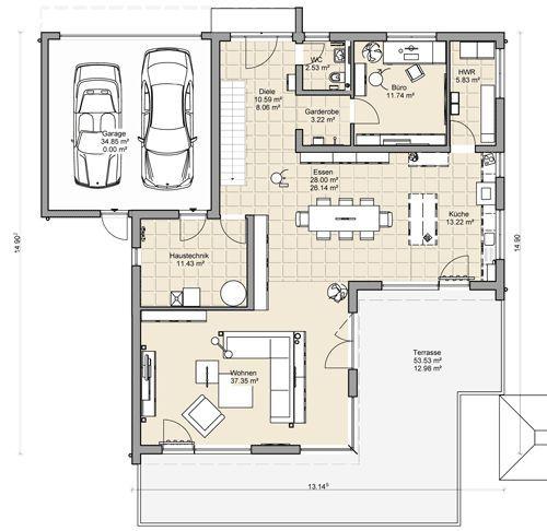 250 besten haus bilder auf pinterest architektur for Einfamilienhaus flachdach grundriss