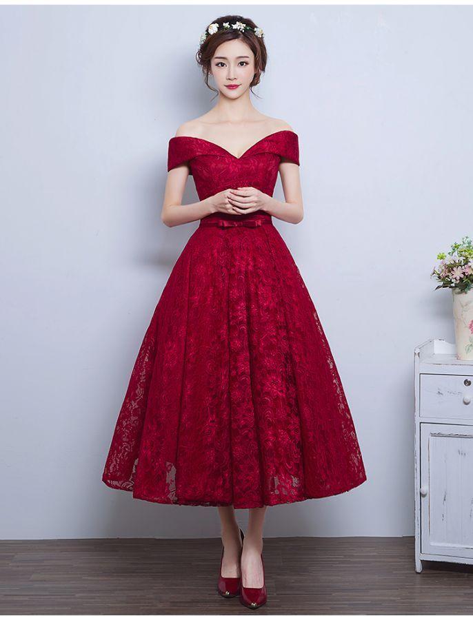 Off Shoulder Style Vintage Inspired Lace Dress