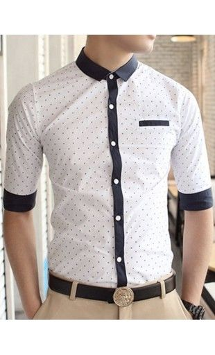 Leon - slimfit half sleeve button up shirt with polka dot base and contrast navy detailing. Available in M-2XL