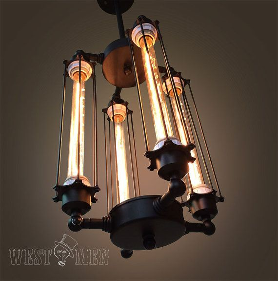 Tube cage Edison bulb chandelier 4 lights by AugustRushLights