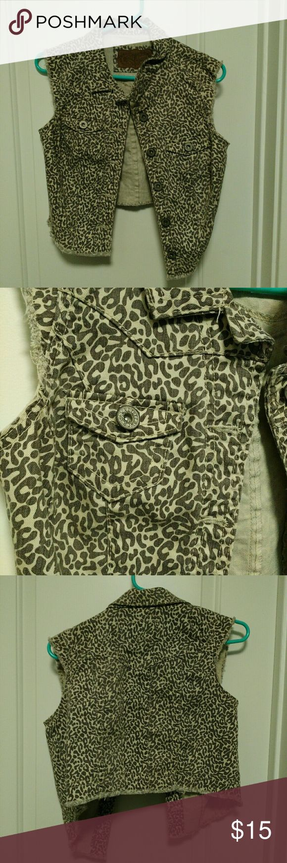 NEW! Leopard Print Jean Vest New! Gray and white jean vest. Tops