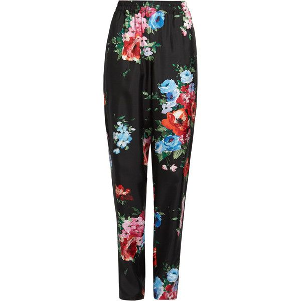 Dolce & Gabbana Rose-print tapered-leg silk-twill trousers (€1.010) ❤ liked on Polyvore featuring pants, black multi, stretch waist pants, peg leg pants, peg-leg pants, peg-leg trousers and tapered leg pants