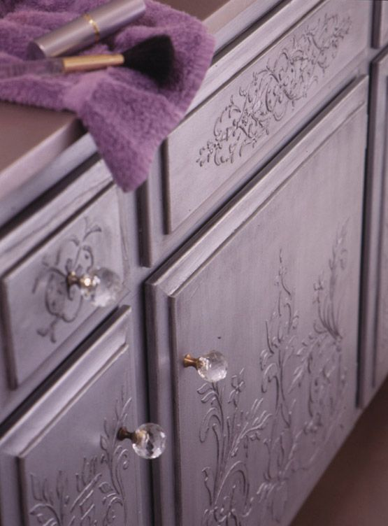 Example of embossed stencil technique on furniture - could I do this with my purple cabinet?