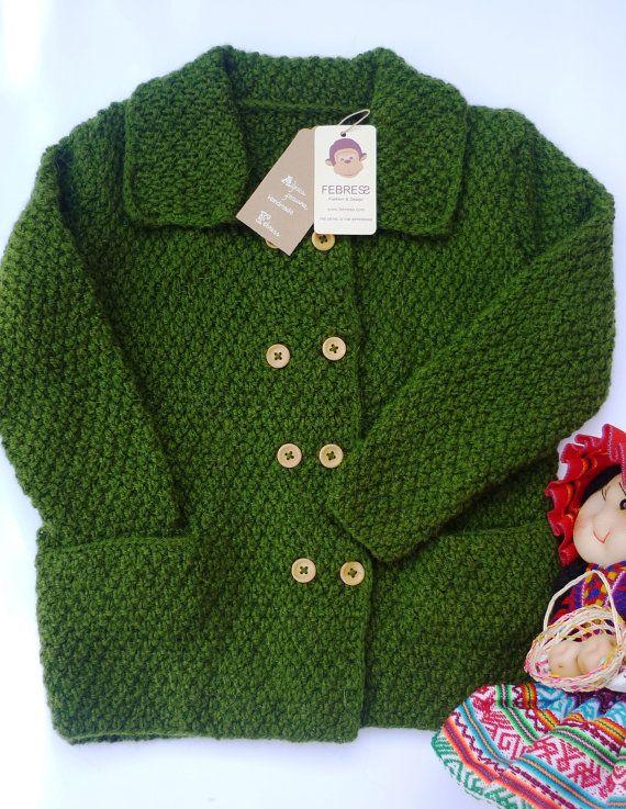 Hand knitted baby jacketcardigan boy Sweater by febressfashion,