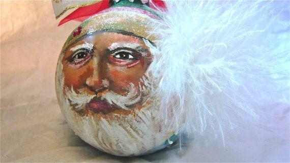 Hand Painted Santa Glass Ornament