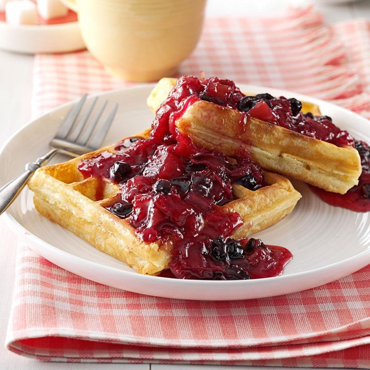 Blueberry/Rhubarb Breakfast Sauce Recipe -My husband's aunt gave me this recipe, and it's become our family's favorite breakfast topping. Sometimes I'll substitute cherry pie filling (which I put through the blender) for the blueberry pie filling—it's tasty, too! —Rita Wagenmann, Grangeville, Idaho