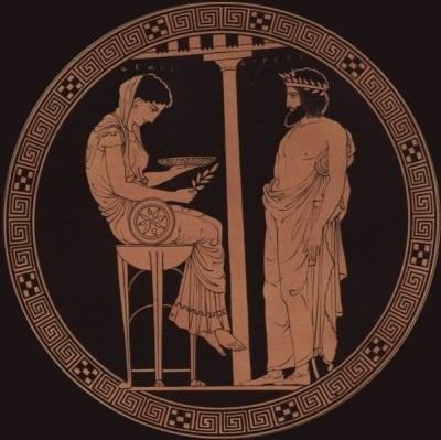 Egeo consultando a Pitia, en el Oráculo de Delfos