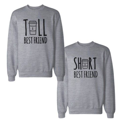 Tall And Short Best Friends BFF Sweatshirts Matching Sweat Shirts, Size: Left- Small/ Right- X-Large, Grey