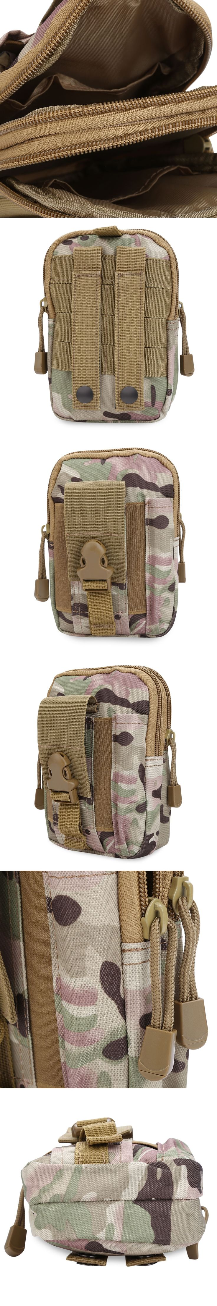 Tactical Holster Molle EDC Security Pack Carry Case Pouch Belt Waist Bag Zipper Buckle Outdoor Activity Sport Phone Waist Bag