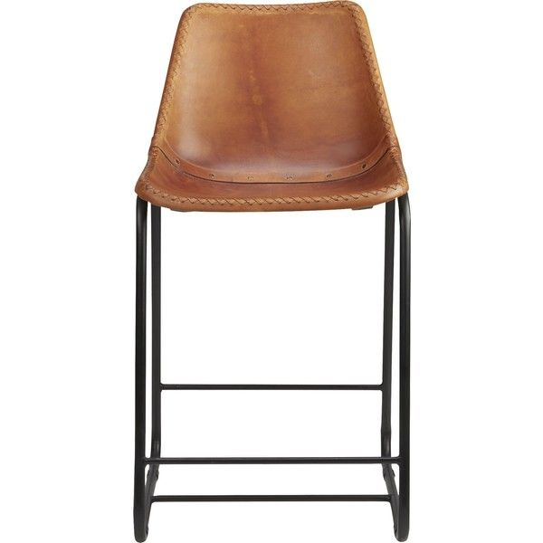 "CB2 Roadhouse 24"" Leather Counter Stool"