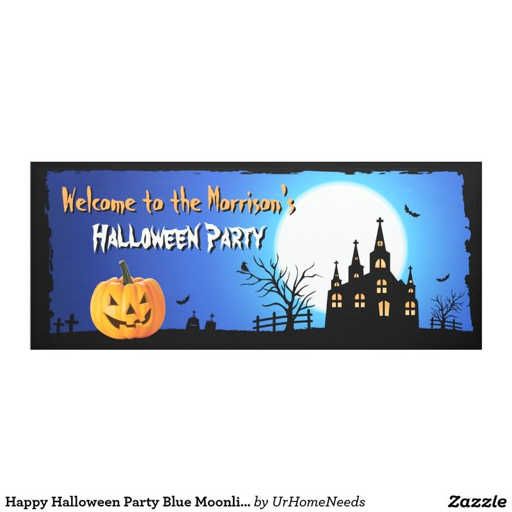 Happy Halloween Party Blue Moonlight Scary Night