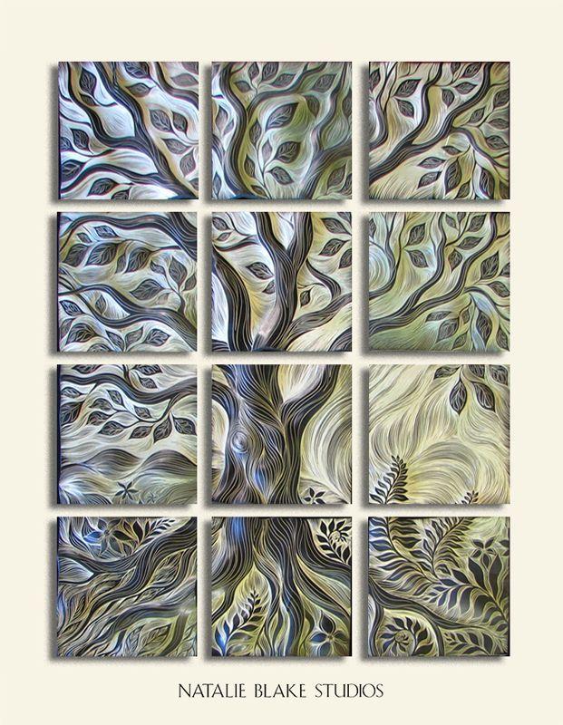 Natalie Blake Studios ceramic tile ~ Tree of Life ~ carved mosaic for interior or exterior wall art or backsplash applications ~ handmade in Brattleboro, Vermont