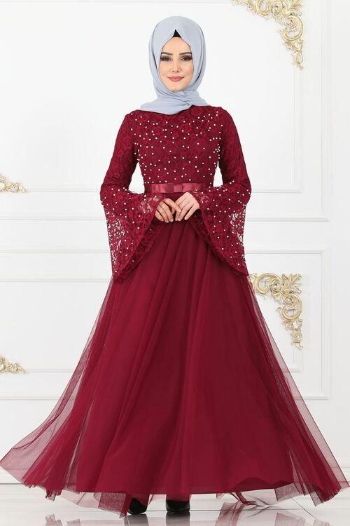 Modaselvim Abiye Fiyonk Detay Incili Abiye 81663bn105 Bordo Abaya Fashion Fashion Girl Fashion