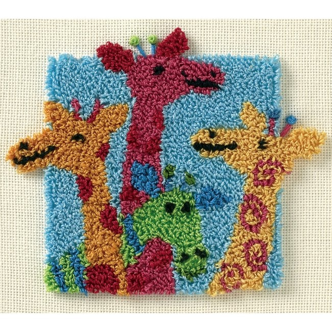 The Giraffes Punch Needle Kit is a fun punchneedle design from Dimensions. This punch needle embroidery kit includes foundation fabric with pre-printed design, cotton thread, and easy to follow instructions.  This is an easy punchneedle kit for beginners and experienced crafters!