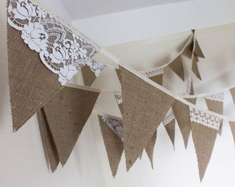 Hessian & Lace Bunting to hire, Rustic wedding decoration, Vintage style flags, Country Wedding