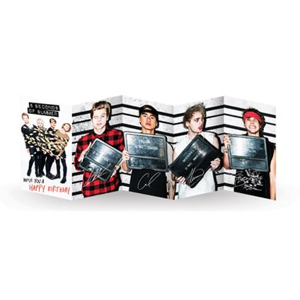 NEW Official #5SOS Fold Out Birthday Card available direct from Publisher with Free UK Delivery at https://www.danilo.com/Shop/Cards-and-Wrap/5SOS-Cards