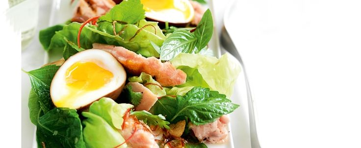 Salmon Salad with Soy Eggs recipe, brought to you by MiNDFOOD.
