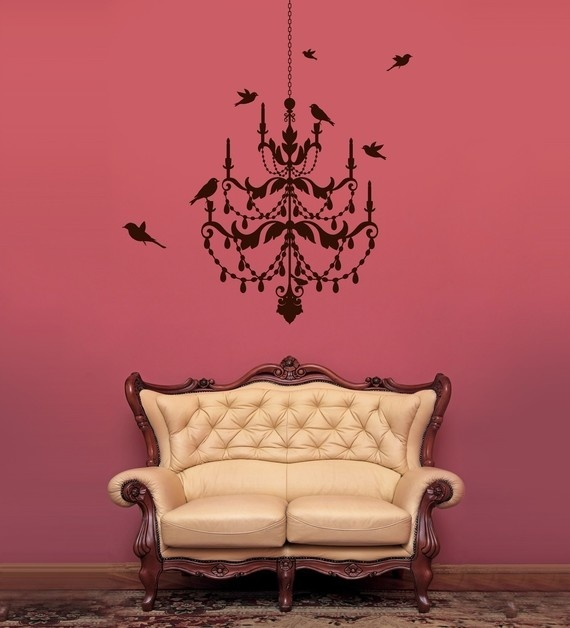Tayten's new vinyl wall decor. The chandelier will be hot pink & only the birds will be black. Her colors in her new room are zebra print (black/white) & hot pink - what a teenager & how spoiled!!!!!!