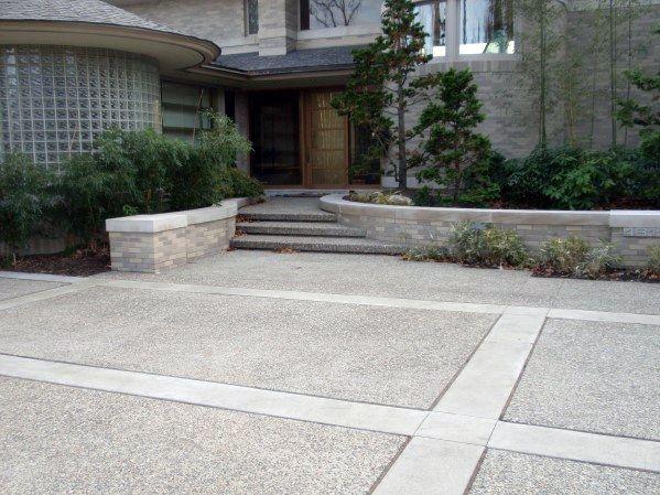 Top 50 Best Concrete Driveway Ideas Front Yard Exterior Designs Decorative Concrete Driveways Driveway Design Concrete Driveways