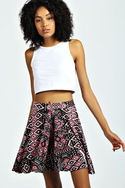 Irina Neon Aztec Full Circle Flippy Short Culottes at boohoo.com