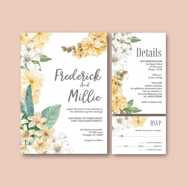 Download Floral Weeding Card Set For Free Wedding Cards Wedding Card Templates Wedding Invitation Cards