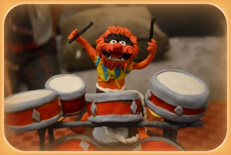 Animal muppets και drums από ζαχαρόπαστα για τούρτα γενεθλίων! Handmade fondant animal from muppets playing drums for birthday cake