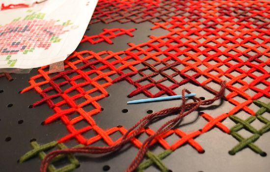 Gigantic cross stitch wall art tutorial at Dream a Little Bigger -- peg board cross stitch