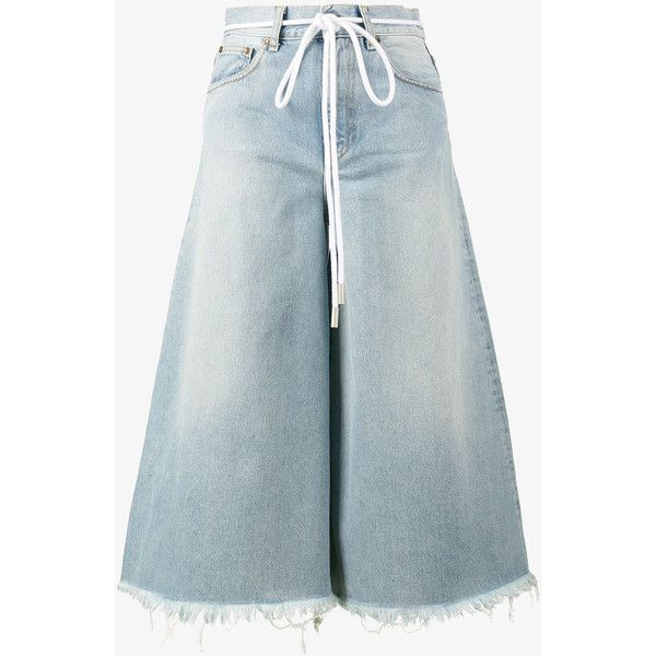 Off-White rope belt blue high waisted culotte jeans ($395) ❤ liked on Polyvore featuring jeans, stripe, blue, high waisted cropped jeans, blue jeans, high-waisted jeans, cropped flare jeans and flared high waisted jeans