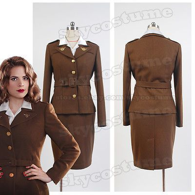 Captain-America-Agent-Margaret-Peggy-Carter-Dress-Jacket-Cosplay-Costume-Uniform