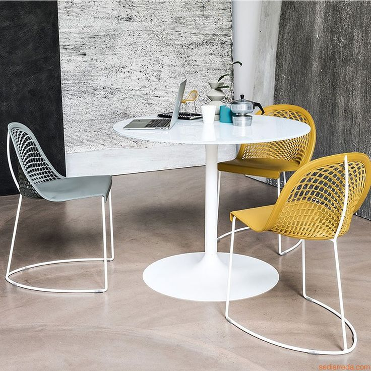 Guapa S - Chairs made of white steel and natural hide, dark yellow-earth and light blue colours