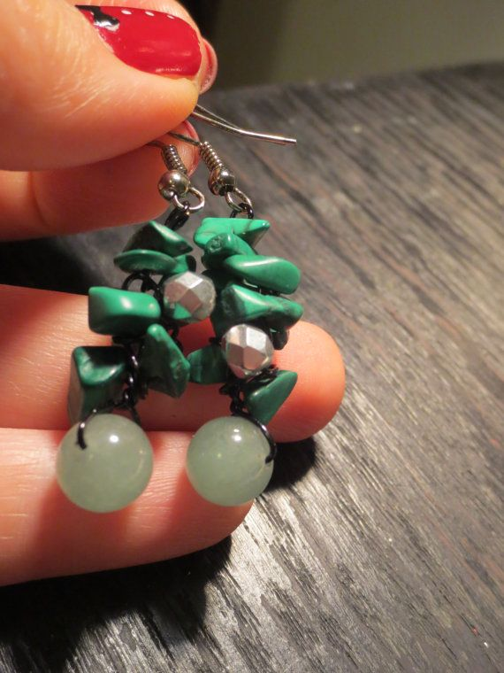 Jade and Malachite Earrings