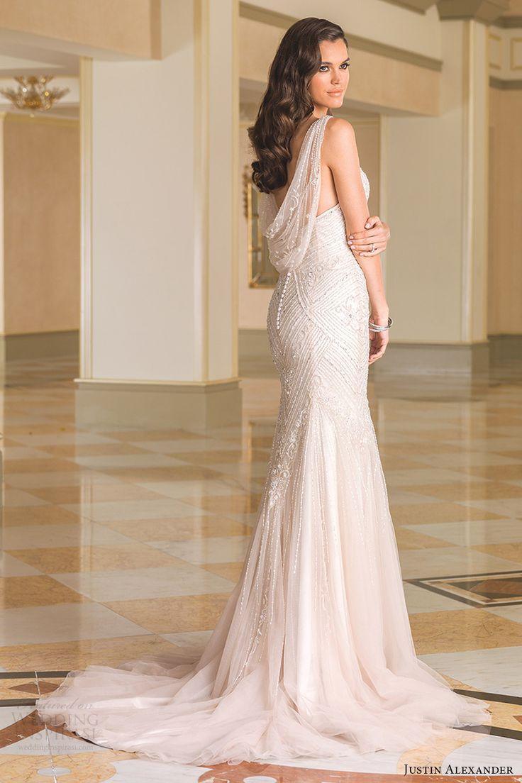 justin alexander bridal fall 2016 sleeveless vneck fit flare wedding dress (8872) bv beaded cowl back train champagne color