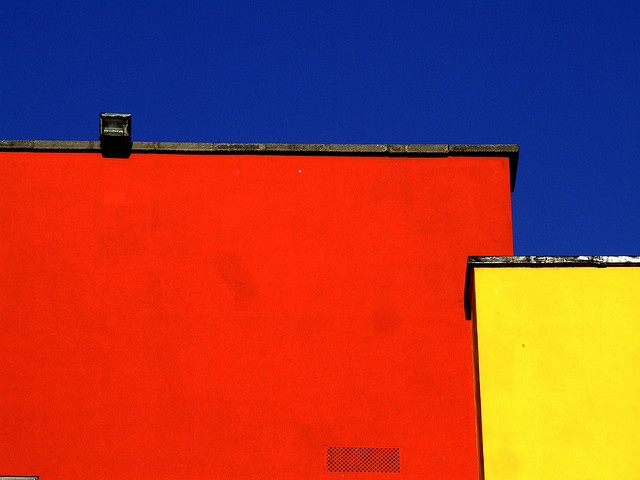 red & yellow against blue #architecture